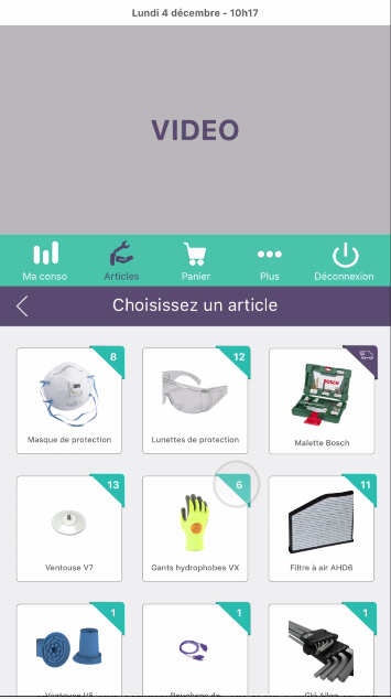 Capture d'écran de l'interface de retrait de l'application